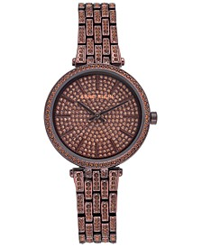 Women's Brown-Tone Crystal Pavé Bracelet Watch 32mm