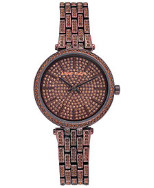 Anne Klein Women's Brown-Tone Crystal Pavé Bracelet Watch 32mm