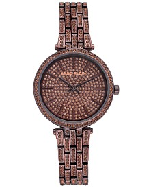 Anne Klein Women's Brown-Tone Crystal Pavé Bracelet Watch 32mm