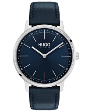 Hugo Men's #Exist Ultra Slim Blue Leather Strap Watch 40mm