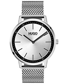HUGO Men's #Exist Ultra Slim Stainless Steel Mesh Bracelet Watch 40mm