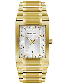 Kenneth Cole New York Men's Gold-Tone Stainless Steel Tank Bracelet Watch 40mm