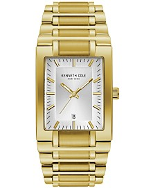 Kenneth Cole New York Men's Gold-Tone Stainless Steel Tank Bracelet Watch 40mm