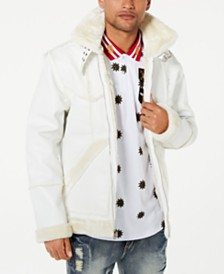Reason Men's Paneled Coat with Faux-Fur Lining
