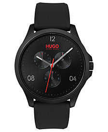 HUGO Men's #Risk Black Rubber Strap Watch 41mm