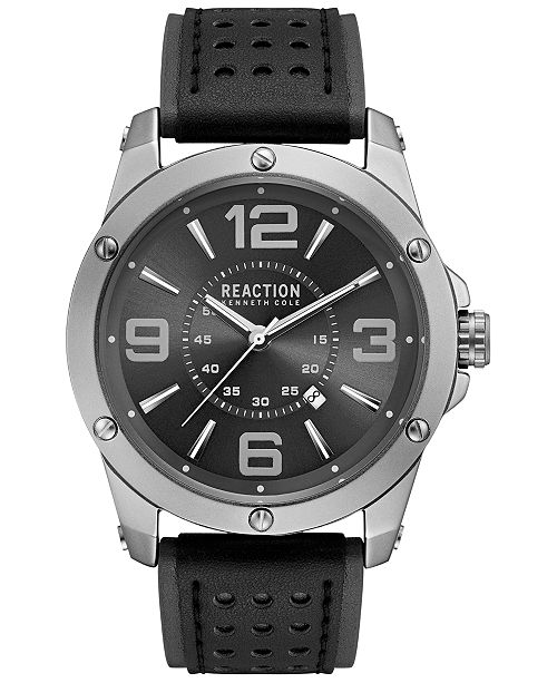 Kenneth Cole Reaction Men's Black and Gray Strap Watch 46mm