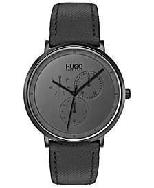 HUGO Men's #Guide Ultra Slim Black Leather Strap Watch 40mm