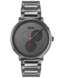 HUGO Men's #Guide Ultra Slim Gray Ion-Plated Stainless Steel Bracelet Watch 40mm