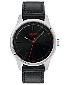 HUGO Men's #Dare Black Leather Strap Watch 42mm