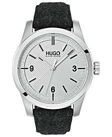 HUGO Men's #Create Gray Felt Strap Watch 40mm