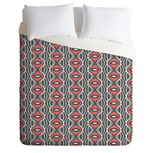 Deny Designs Holli Zollinger Raining Coral Linen Queen Duvet Set