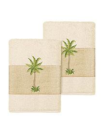 Linum Home Colton 2-Pc. Embellished Washcloth Set