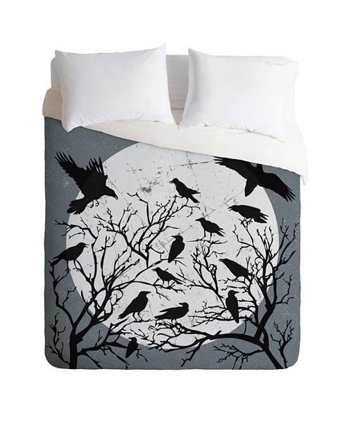 Deny Designs Heather Dutton Ravens Call Midnight Queen Duvet Set