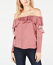 1.STATE Off-The-Shoulder Ruffle Top