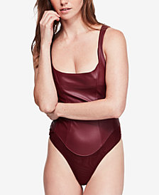 Free People Shes A Vegan Faux-Leather Thong Bodysuit