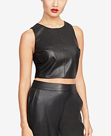 RACHEL Rachel Roy Faux-Leather Crop Top, Created for Macy's