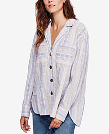 Free People High Tide Striped Oversized Shirt