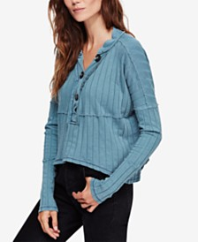 Free People In The Mix Ribbed Henley Top