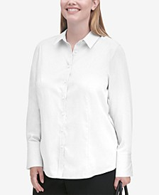 Plus Size Cotton Collared Shirt