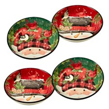Certified International Winter's Plaid 4-Pc. Soup/Pasta Bowls