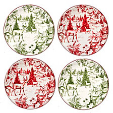 Certified International Winter Field Notes 4-Pc. Toile Canape Plates