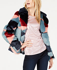 I.N.C. Printed Faux-Fur Coat, Created for Macy's