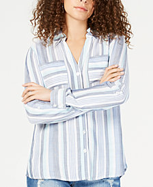 I.N.C. Plus Size Striped Button-Up Shirt, Created for Macy's