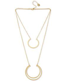 "BCBG Gold-Tone Double-Layer Geometric Pendant Necklace, 18"" + 3"" extender"