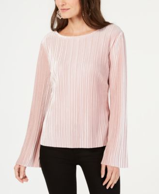 INC Womens Pink Pleated Velvet Bell Sleeve Crew Neck Casual Top L