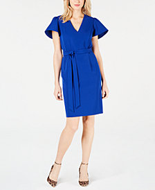 I.N.C. Flare-Sleeve Tie-Belt Dress, Created for Macy's
