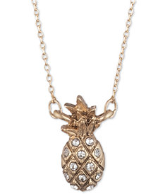 "lonna & lilly Gold-Tone Pavé Pineapple Pendant Necklace, 16"" + 3"" extender"