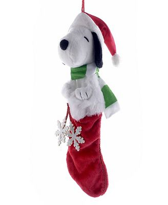 Kurt Adler 21 Inch Snoopy Plush Head Stocking With Snowflake Dangles