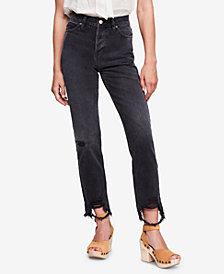 Free People Distressed-Hem Cotton Jeans