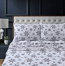 Let it Snow Heavyweight Cotton Flannel Printed Extra Deep Pocket Twin XL Sheet Set
