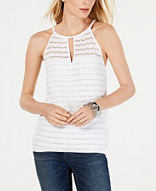 INC Petite Illusion-Neck Halter Top, Created for Macy's