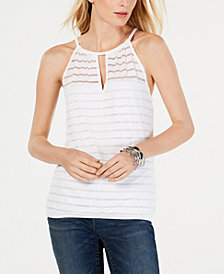 I.N.C. Petite Illusion-Neck Halter Top, Created for Macy's