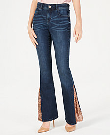 I.N.C. Sequin-Hem Flare-Leg Jeans, Created for Macy's
