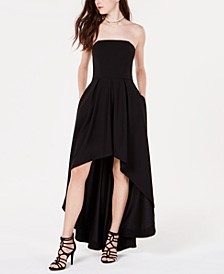 Juniors' Strapless High-Low Dress