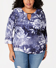 I.N.C. Plus Size Hardware Keyhole Top, Created for Macy's