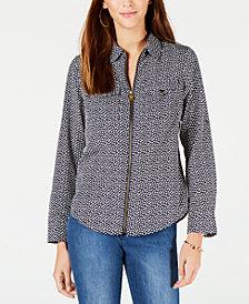 MICHAEL Michael Kors Printed Zip-Front Shirt, In Regular & Petite Sizes