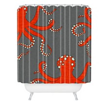 Deny Designs Holli Zollinger Octopus Red Shower Curtain