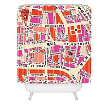 Holli Zollinger Paris Map Pink Shower Curtain