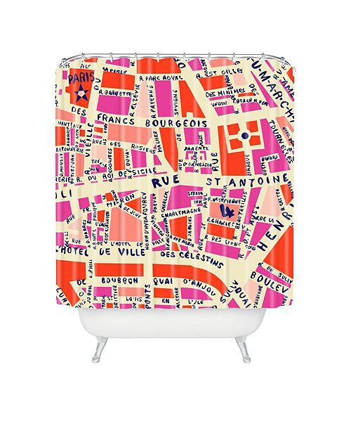 Deny Designs Holli Zollinger Paris Map Pink Shower Curtain