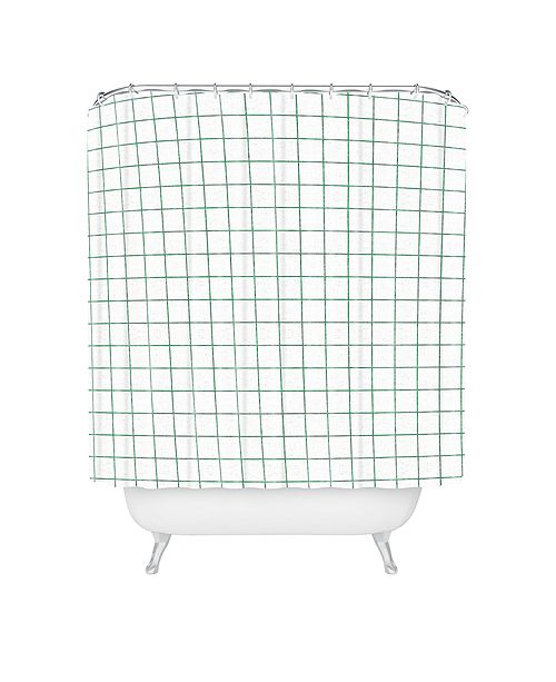 Deny Designs Holli Zollinger French Linen Grid Emerald Shower Curtain