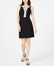 Pappagallo Embroidered-Neck Lara Dress