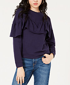 Material Girl Juniors' Ruffled Long-Sleeve Sweatshirt, Created for Macy's