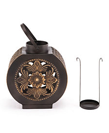 Leaves Lantern Sm Black & Gold