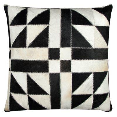 "20"" x 20"" Geometric Pattern Sewn in Genuine Fur Poly Filled Pillow"