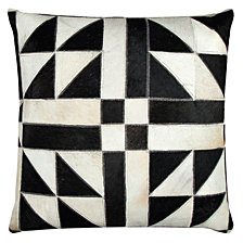 """Rizzy Home 20"""" x 20"""" Geometric Pattern Sewn in Genuine Fur Poly Filled Pillow"""