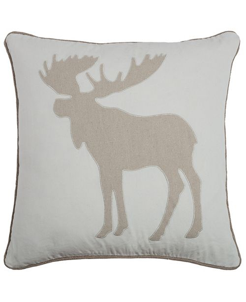 """Rizzy Home 20"""" x 20"""" Moose Poly Filled Pillow"""